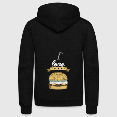 I love fastfood hamburger gift - Unisex Fleece Zip Hoodie