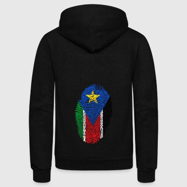 fingerprint i love wurzeln south sudan - Unisex Fleece Zip Hoodie by American Apparel