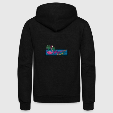 80's Miami Style: Pink Flamingo Club + Palm Trees - Unisex Fleece Zip Hoodie by American Apparel