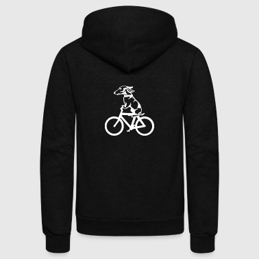 Dog on byclce shirt- Funny DOg On Bicycle tshirt - Unisex Fleece Zip Hoodie by American Apparel