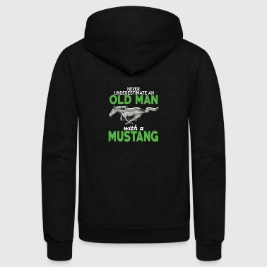 OLD MAN WITH A MUSTANG SHIRT - Unisex Fleece Zip Hoodie