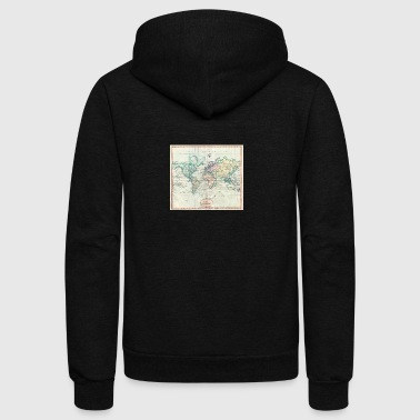 1801 Map of the world - Unisex Fleece Zip Hoodie by American Apparel
