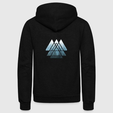 Sacred Geometry Triangles Misty Forest - Unisex Fleece Zip Hoodie