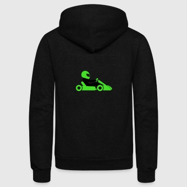A Racer With Helmet And Car - Unisex Fleece Zip Hoodie