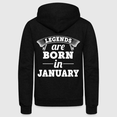 Legends are born in January shirt - Unisex Fleece Zip Hoodie by American Apparel