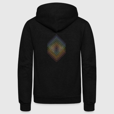 Geometric colored squared echo lineart - Unisex Fleece Zip Hoodie