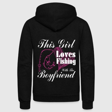 This Girl Loves Fishing With The Boyfriend T Shirt - Unisex Fleece Zip Hoodie