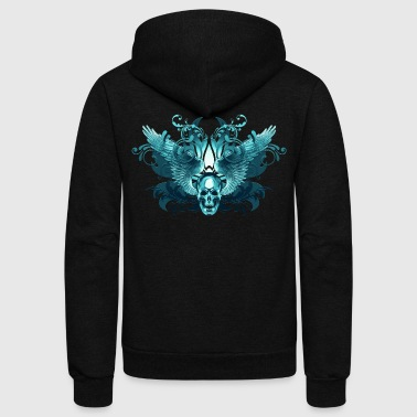cyan winged skull - Unisex Fleece Zip Hoodie by American Apparel