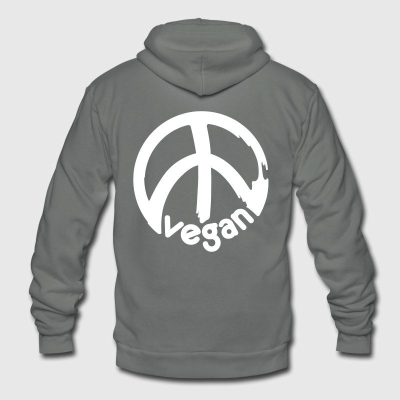 VEGAN PEACE vector - Unisex Fleece Zip Hoodie