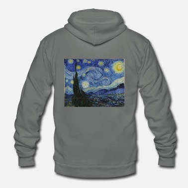 Night Starry night by Vincent Van Gogh - Unisex Fleece Zip Hoodie