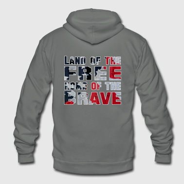 Land of the Free Home of the Brave - Unisex Fleece Zip Hoodie