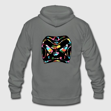 Harlequin Harlequin / Zanni mask clipart rainbow background - Unisex Fleece Zip Hoodie