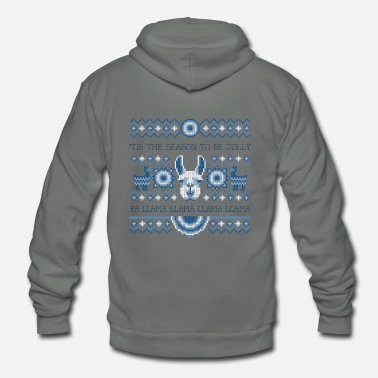 Fa Llama Llama | Funny Deck the Halls Alpaca - Unisex Fleece Zip Hoodie