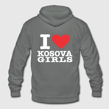 I love Kosova Girls - Unisex Fleece Zip Hoodie