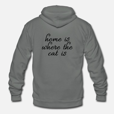 Young home when the cat is - Unisex Fleece Zip Hoodie