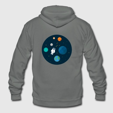 Flat Design Astronaut Cosmic Space Planets SciFi - Unisex Fleece Zip Hoodie