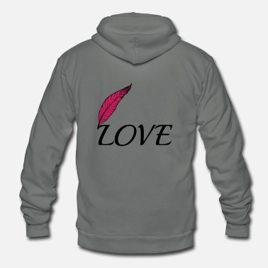 Lovely Love with feather - Unisex Fleece Zip Hoodie