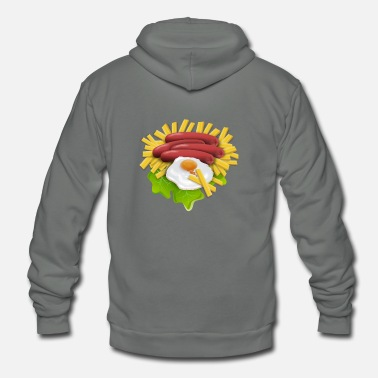 Fried Egg Fries And Eggs - Unisex Fleece Zip Hoodie