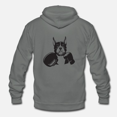 Gloves Boxing Dog Gloves Animal Mascot Fighter Boxer - Unisex Fleece Zip Hoodie