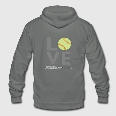 I Love Softball Cute LOVE Softball Lover gift for men & Women - Unisex Fleece Zip Hoodie