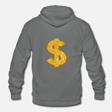 Dollar Sign Dollar Sign Shirt | Dollar Symbol | Gold Glitter - Unisex Fleece Zip Hoodie