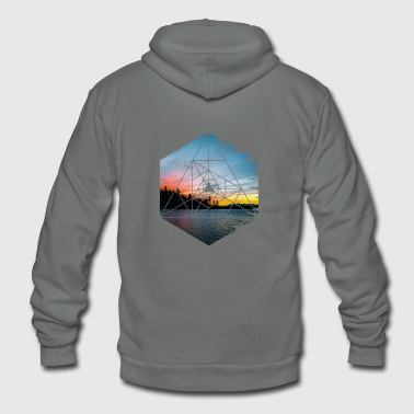 Geometric Landscape - Beautiful Scenery Dawn Dusk - Unisex Fleece Zip Hoodie