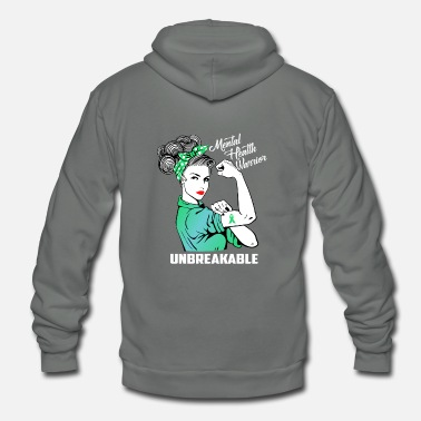 Health Mental Health Warrior Unbreakable - Unisex Fleece Zip Hoodie