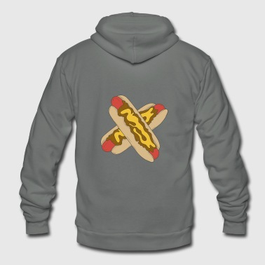 Hot Dog Hot dog in bun with mustard and toasted onion - Unisex Fleece Zip Hoodie