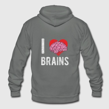 Zombie - I Love Brains Halloween - Unisex Fleece Zip Hoodie