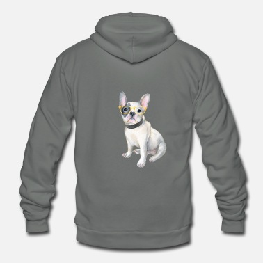 18a2e93077fdd Frenchie French Bulldog yellowglasses Dogs In - Unisex Fleece Zip Hoodie
