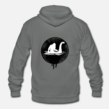 Loch Ness Monster Bigfoot Riding on Nessie Lochness Monster Yeti - Unisex Fleece Zip Hoodie
