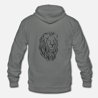 Christian &amp Lion Face Head Portrait - King Of The Jungle - Unisex Fleece Zip Hoodie