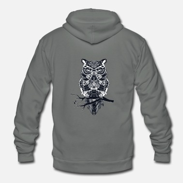 Wisdom Owl on a branch - wisdom, wisdom - Unisex Fleece Zip Hoodie