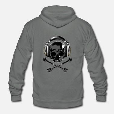 Skull And Bones T Shirt skull headphones bones vector illustration - Unisex Fleece Zip Hoodie