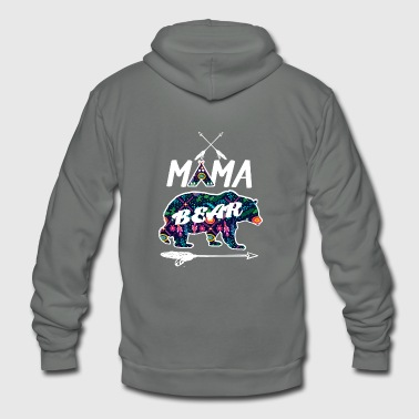 Mama Bear Floral Pattern Family Vacation Camping - Unisex Fleece Zip Hoodie