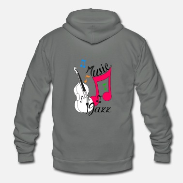 Double Bass jazz music with double bass - Unisex Fleece Zip Hoodie