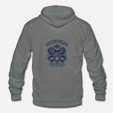Motorcycle Garage Custom Bike Motorcycle Custom Garage - Unisex Fleece Zip Hoodie