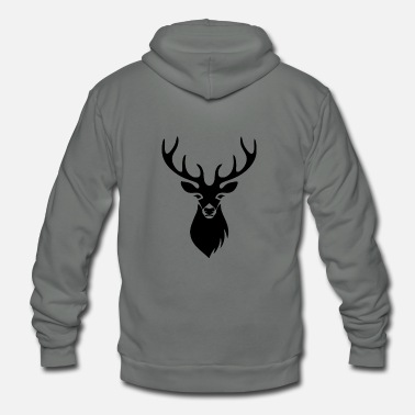 Deer Head Deer - Unisex Fleece Zip Hoodie