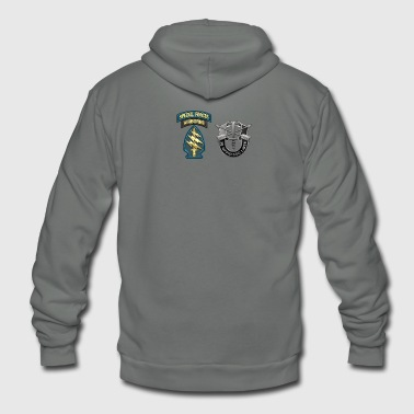 U S Army Special Forces Green Berets SSI DUI - Unisex Fleece Zip Hoodie