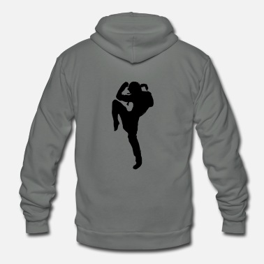 Kickboxer Muay Thai Silhouette Kickboxing Fighter MMA gift - Unisex Fleece Zip Hoodie
