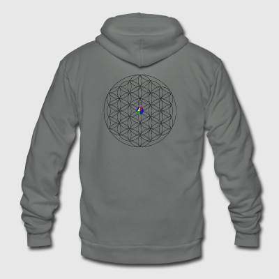 1200px-Flower-of-Life__aop-logo_light - Unisex Fleece Zip Hoodie by American Apparel
