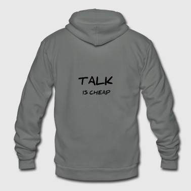 TALK IS CHEAP - Unisex Fleece Zip Hoodie by American Apparel
