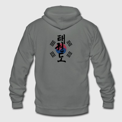 Taekwondo Flag Kanji - Unisex Fleece Zip Hoodie by American Apparel