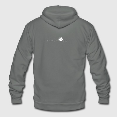 Pawprint heartbeat - Unisex Fleece Zip Hoodie by American Apparel