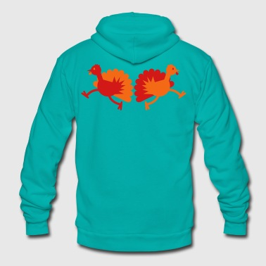 Thanksgiving Turkey Birds two running away! - Unisex Fleece Zip Hoodie