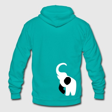 elephant with his trunk up good luck! - Unisex Fleece Zip Hoodie