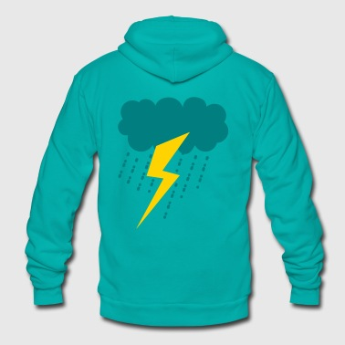 raincloud lightning strike rain storm - Unisex Fleece Zip Hoodie