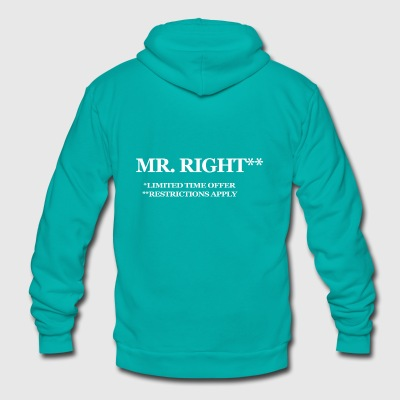 MR RIGHT funny t shirt humor sex college pimp tee - Unisex Fleece Zip Hoodie by American Apparel