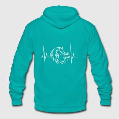 Horse Love for Horseowner heartbeat present - Unisex Fleece Zip Hoodie by American Apparel