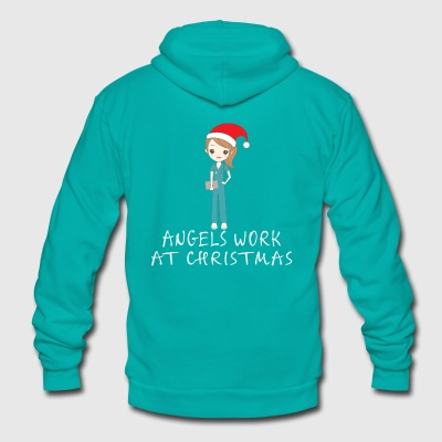 ANGELS WORK AT CHRISTMAS - Unisex Fleece Zip Hoodie by American Apparel